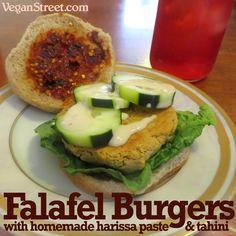 Falafel Burgers with Homemade Harissa Paste & Tahini falafel burger