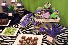 Adult Pajama party (zebra themed) sweets table