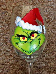Hand Painted Grinch Wine Glass by PinkFrogPond on Etsy, $17.00