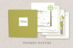 NEUTRAL Modern Baby Memory Book (Whimsy Nature Page Design, Grass Cover 9.25 x 9.5) made-children