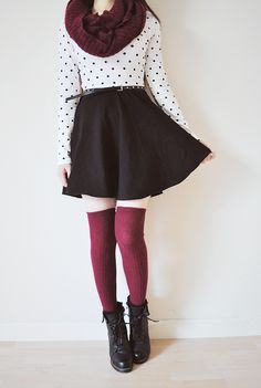 Knee+High+Socks+-+Burgundy High+Quality Made+in+Taiwan+ Free+Size Photo+by+chickabiddy.tumblr
