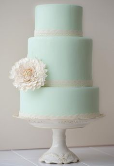 mint lace trimmed wedding cake // Vintage mint green cake with sugar dahlia and #lace trim || by Erica OBrien Cake Design, New Haven CT