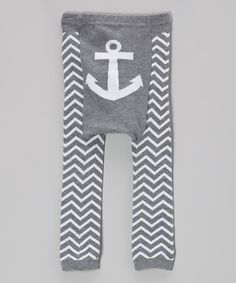 Gray Zigzag Anchor Leggings