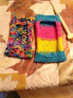 Rainbow loom phone cases I made!!