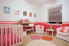 #Pink and #white walls pop in this playful #nursery.