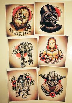 Star Wars Traditional Tattoo Flash Set by ParlorTattooPrints, $35.00