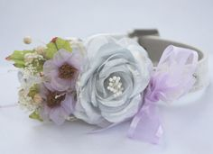Cute Dog Collar, White Leather Collar with Silver and Light Purple flowers,  Cute Floral Dog Collar, Unique Wedding Dog Collar. $39.50, via Etsy.
