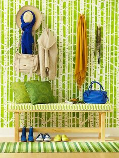birch, tree, bench, color combos, coat hooks, stencil, bright colors, accent walls, babies rooms