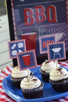 Printable BBQ cupcake toppers for the summer soirees