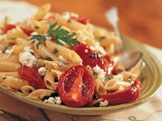 Mostaccioli with roasted tomatoes and garlic - simple, simple flavorful beautiful food