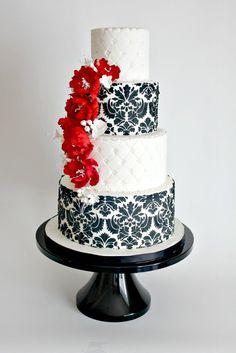Pink And Black Damask Wedding Cake