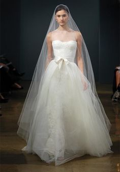 Monique Lhuillier - Grace Floor length - from both sides - veils can be done.