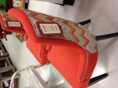Coral chair with blue accents. TJ Maxx!