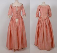 Gown, 1770-1780, Killerton, Devon, England.  Pink lustring silk dress, 'a l'anglaise' centre back pleats stitched down to below waist. Petticoat of same fabric worn underneath open gown and trimmed at neck and cuffs with lace.  Provenance: worn by Alice Westcolt wedding to an Admiral | National Trust