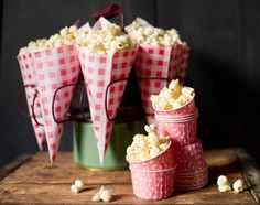 gingham paper cones for popcorn, nuts, treats, and ice cream