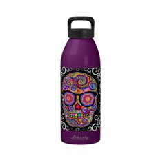 Hipster Sugar Skull Water Bottle - Day of the Dead