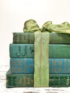 Teal, Dusk Blue and Sea Green,Seaside Decor,Vintage books  by beachbabyblues, $42.00