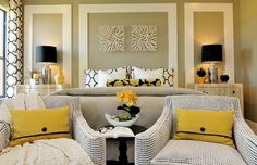 In this master bedroom, Masterpiece Design Group creatively mounted Z Gallerie Naples Bowls (http://zgal.re/113Mf12) as wall decor. Photo credit Studio KW Photography