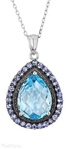 Blue Topaz Tanzanite Silver Necklace