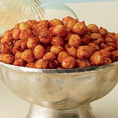 Spiced chickpea snack mix. Mix two 15-ounce cans of rinsed and drained low-sodium chickpeas, 2 tablespoons olive oil, 1 1/2 tablespoons sugar, 1 teaspoon smoked paprika, 1/2 teaspoon salt, and 1/4 teaspoon each cayenne pepper and freshly ground black pepper. Bake in a single layer at 425°F for 22 to 24 minutes.