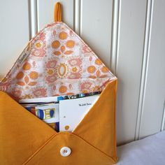 postcards from europe mail organizer yellow by Tuuni on Etsy, €26.00