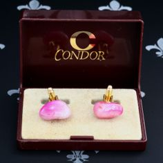 CONDOR Vintage Gents or Lady's Cufflinks Pink Natural Stones Original Box