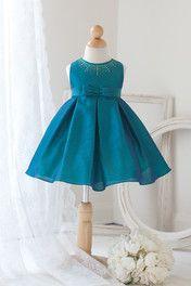 Island Blue Two Tone Infant Flower Girl Dress