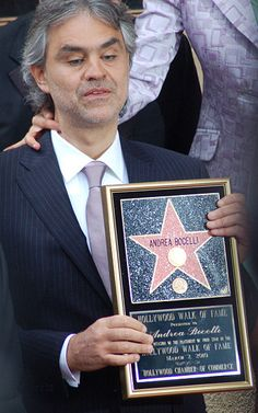 Andrea Bocelli at a ceremony to receive a star on the Hollywood Walk of Fame.