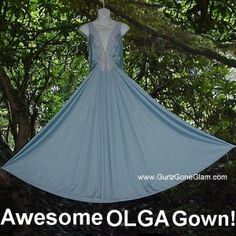 Vintage Olga nightgown frosty blue style 92280 with huge floor length sweep,medium to large @ gurlz.ecrater.com