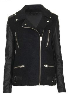 Black Contrast Leather Long Sleeve Zipper Jacket US$45.57