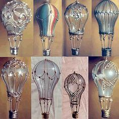 Re-purpose light bulbs into hot-air-balloon ornaments.