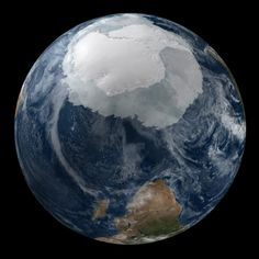 Composite image of Antarctica in global context. (Credit: NASA/Goddard Space Flight Center Scientific Visualization Studio