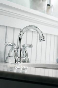 The MOEN Banbury Bathroom Faucet adds a timeless look to your home. The chrome finish is easy to clean. The faucet is WaterSense certified and has a 1.5-gallon per minute water flow rate to help reduce water use.