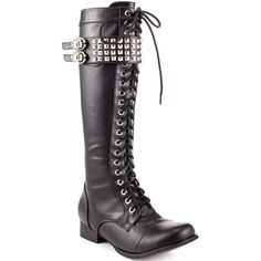 Women's Fashion Shoes Rock On Tall Silver Studded Boot - Black by Abbey Dawn