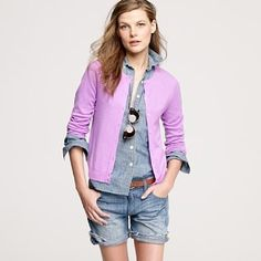 An #orchid cardigan looks great over denim!