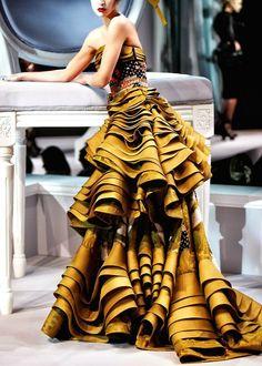 ruffles christmas parties, yellow fashion, john galliano, dream dress, ruffl, christian dior, crazy dresses, oscar dresses, gown
