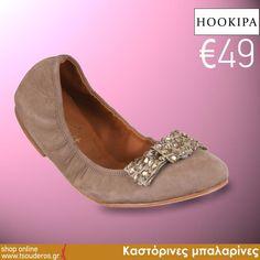 Τώρα €49!  Καστόρινες μπαλαρίνες μαύρες ή μπεζ με φιόγκο από strass, Hookipa    shop online >> www.styledropper.com/tsouderos?pid=14673=el