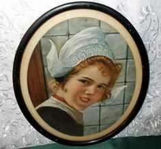 Pretty Dutch Girl in Oval Wood Frame from madgelee on Ruby Lane
