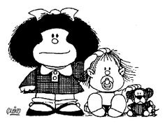 Mafalda, her little brother Guille and a friend