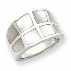 Sterling Silver Mother of Pearl Ring-mom's choice 8