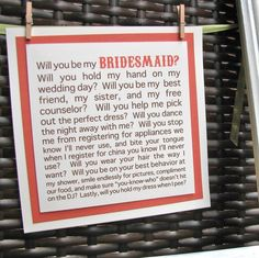 very cute idea for the bridesmaids