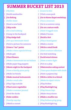 Kids Summer Bucket List: I hope this will keep the kids busy this summer!