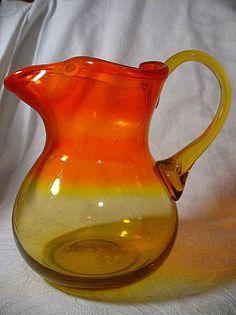 Vintage Glass Amberina Blown Glass Pitcher
