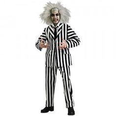 The Beetlejuice Adult Costume comes with a white-and-black-striped jacket, shirt, and pants ensemble with a tie, a wig, and a make-up kit.