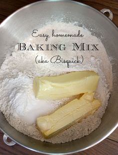In just minutes, I've whipped up enough baking mix for easy breakfasts all week long. Add wet ingredients and go. Love this! Easy Homemade Baking Mix (aka Bisquick)