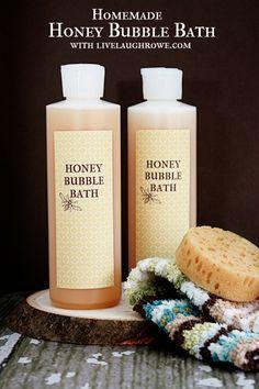 Homemade Honey Bubble Bath with livelaughrowe.com