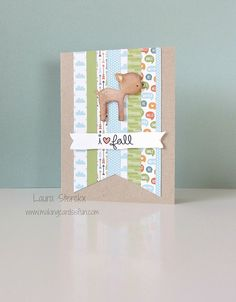 Lawn Fawn - Into the Woods stamps and 6x6 paper _ I love fall! card by Laura