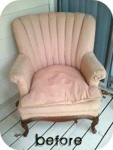 diy reupholstering a chair.