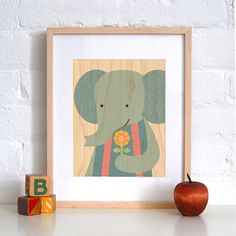 Sweet elephant print on wood by petitcollage
