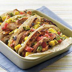 Chicken Tacos with Mango-Avocado Salsa | MyRecipes.com #myplate #protein #grain #vegetable